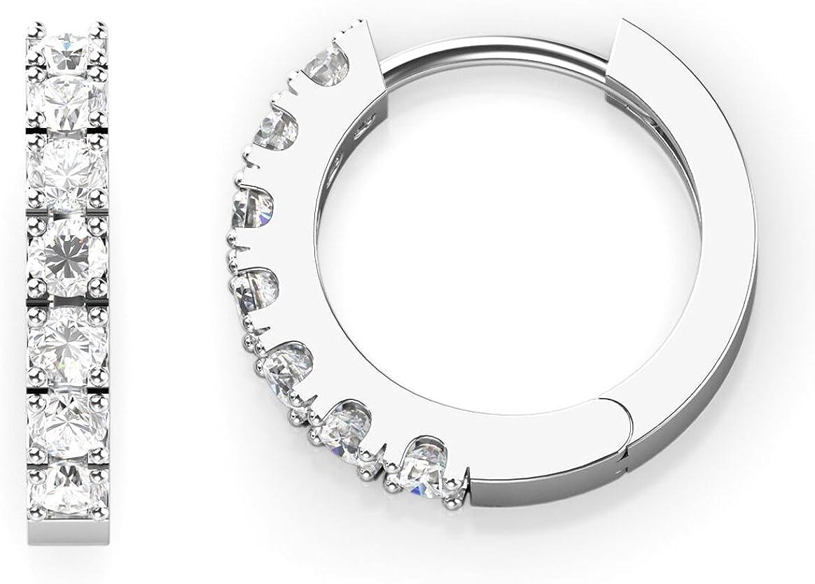 Sterling Silver 15mm Diameter Seven Cubic Zirconia Hinged Huggie Hoop Earrings