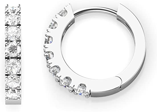 high polished finish light weight and comfortable to wear 30 mm round cubic zirconia set Silver Huggie hoop earrings top grade AAAA C Z