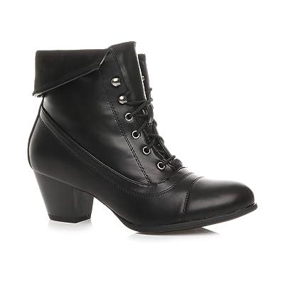 871d025aaf009 Ajvani Womens Ladies mid Heel lace up Vintage Fur Cuff Winter Pixie Ankle  Boots Size