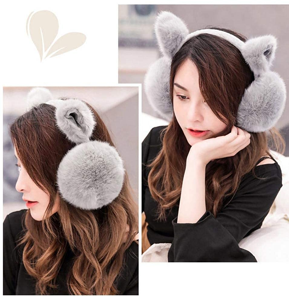 Womens Cat Ear Muff Soft Plush Foldable Warm Winter Outdoors Ear Muff