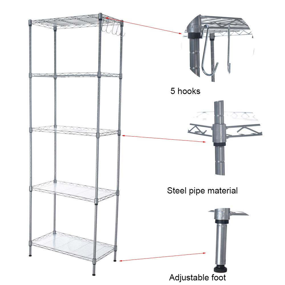 Quelife Shoe Kitchenwear Storage Rack Microwave Oven Holder Wheeled 5-Shelf Trolley Multifunctional Shelf Cart -55x30x158cm by Quelife (Image #5)