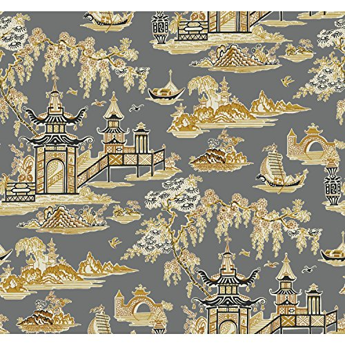 (York Wallcoverings WC7555 Waverly Classics II Peaceful Temple Removable Wallpaper Blacks)
