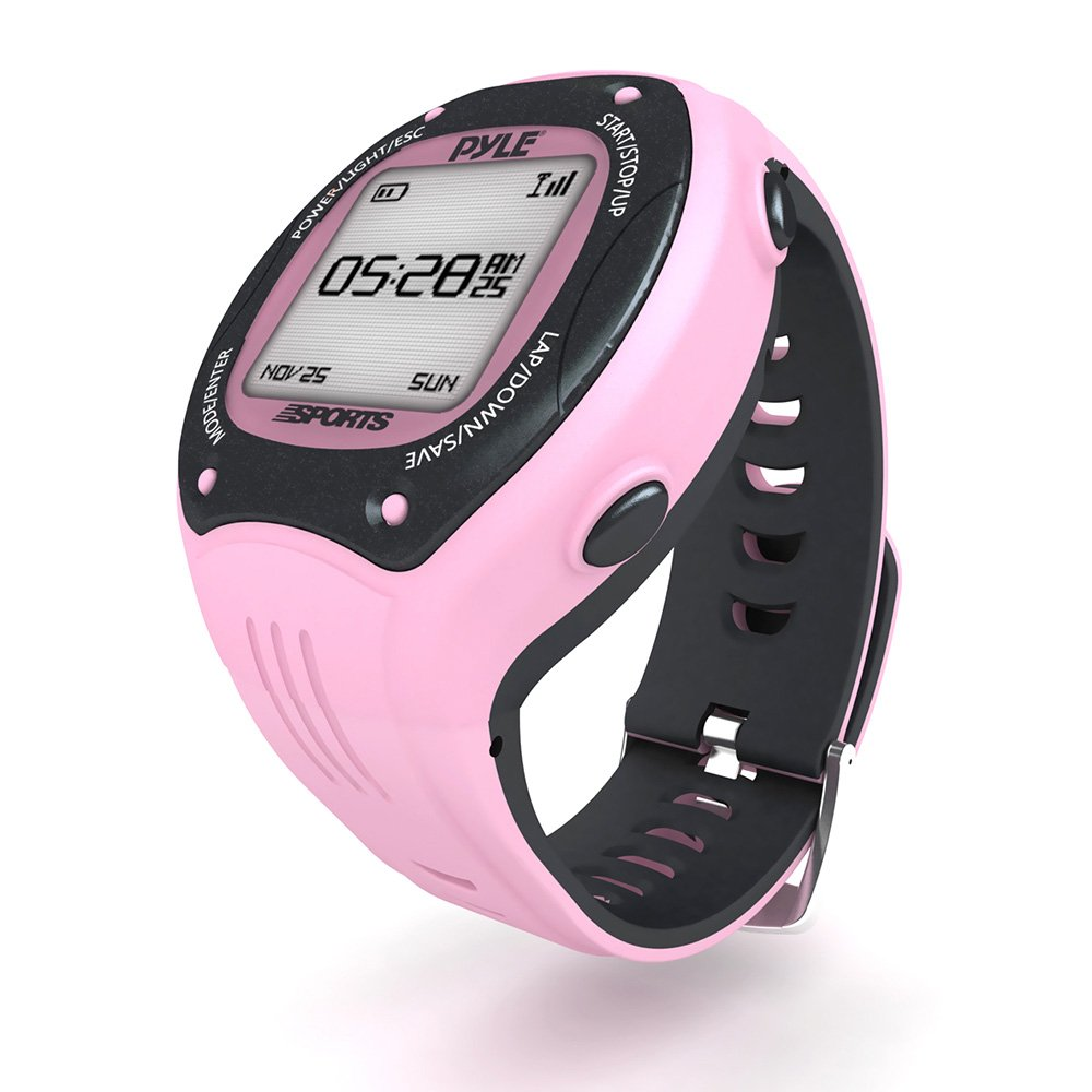 Pyle GPS Sports Watch and Workout Trainer - For Tracking Running, Biking, Hiking Outdoors - Displays Pace, Speed and Distance (Pink)