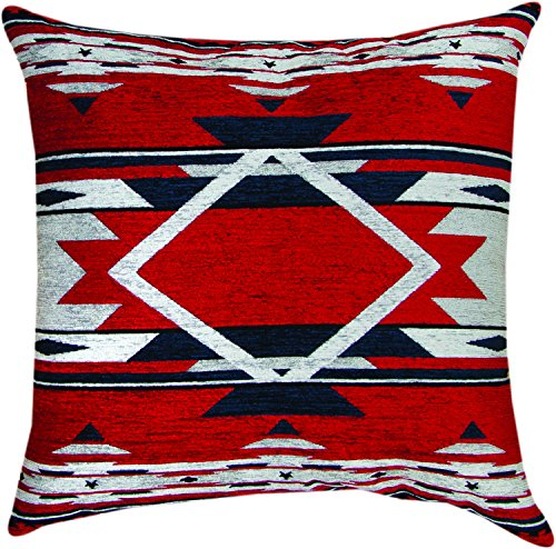 Manual Navy Flame Southwest Geometric Reversible Chenille Tapestry Throw Pillow APFNVY 26