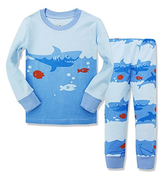 Niños tiburón pijama algodón pijamas de 2 piezas Ropa para niños pantalones de pijama azul tiburón