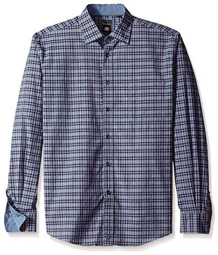 - Thaddeus Men's Park Long Sleeve Cutaway Collar Plaid Shirt with Pocket, Faded Blue, L