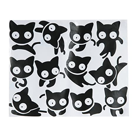 Wall Sticker papel pintado adhesivo Decal 11 Gatos Negros 29,5 x 24,5