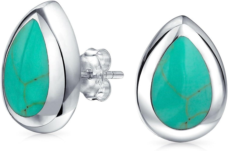 Simple semi precious piedra preciosa lágrima pera en forma de azul turquesa bisel conjunto stud pendientes para las mujeres 925 plata de ley