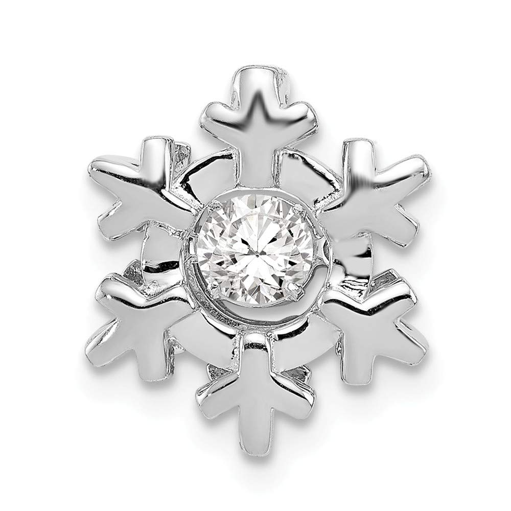 Sterling Silver Slides Jewelry Pendants /& Charms Moveable 12 mm 13 mm Polished Vibrant CZ Snowflake Pendant