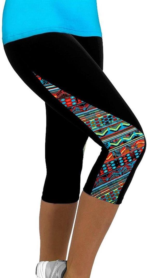 Leggings Deportivos Mujer Cortos,Mallas Mujer Leggins Leggings de Running Polainas de Fitness de Yoga Floral para Mujeres Pantal/ón 3//4 de se/ñora Gym Slim Recortada