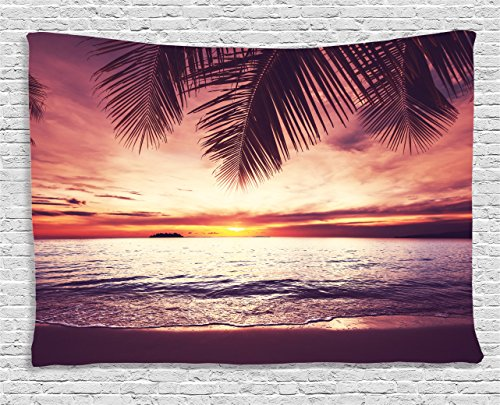 Paradise Sunset Tapestry - Ambesonne Palm Tree Decor Tapestry, Tropical Beach under Shadow at Sunset Ocean Waves Serenity in Natural Paradise, Wall Hanging for Bedroom Living Room Dorm, 80 W X 60 L Inches, Purple