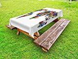 Ambesonne Industrial Outdoor Tablecloth, Map The World Colorful Gears Design Global Economy Concept Artwork Print, Decorative Washable Picnic Table Cloth, 58 X 84 inches, Multicolor