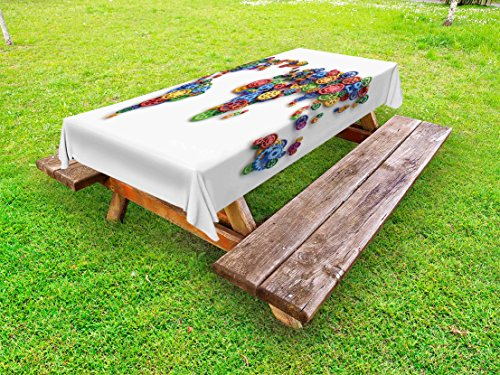 Ambesonne Industrial Outdoor Tablecloth, Map The World Colorful Gears Design Global Economy Concept Artwork Print, Decorative Washable Picnic Table Cloth, 58 X 84 inches, Multicolor by Ambesonne