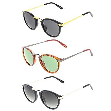 fdd39f152 Amazon.com: Retro Horn Rimmed Metal Nose Bridge P3 Round Sunglasses ...