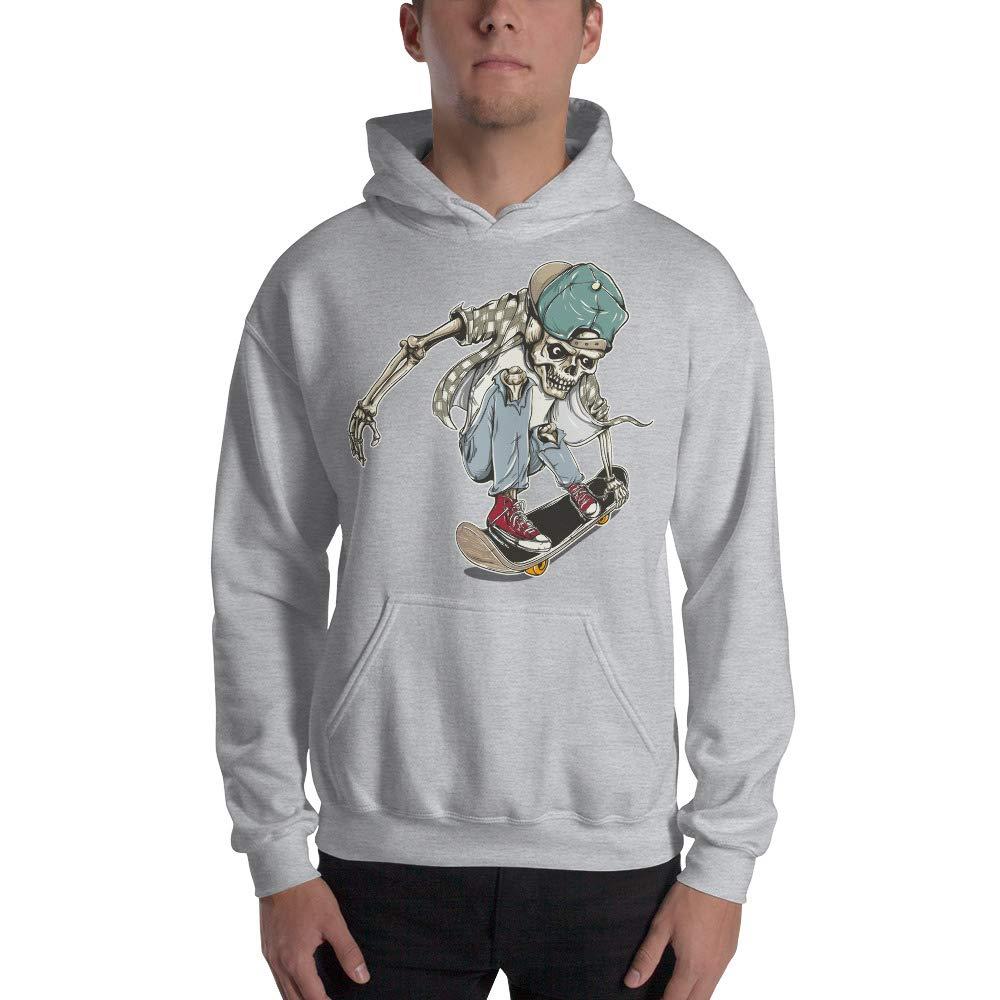 Skeleton Loves Skateboard Funny Cartoon Custom Design Graphic Hoodie Sweatshirt for Men Women