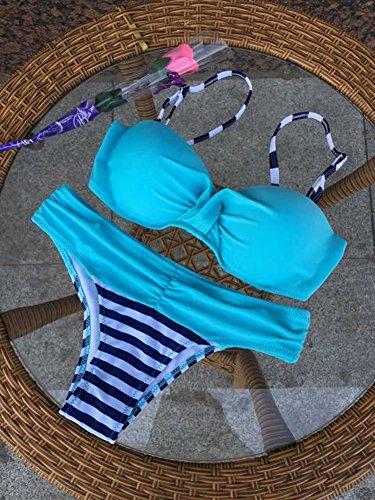 Nulibenna Push Up Two Piece Bikini Swimsuit Candy Patch Padded Swimwear Blue Large