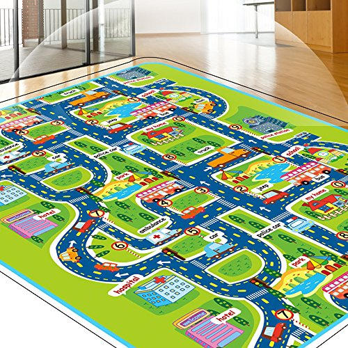 Tiny Wonders Kids Activity Creeping Play Mat, Baby Learning Decor Rug with Road Traffic, Infants Educational Car Carpet with City Town Map, Large and Thick for Floor Bedroom Playroom Safe Area Game by Tiny Wonders (Image #4)