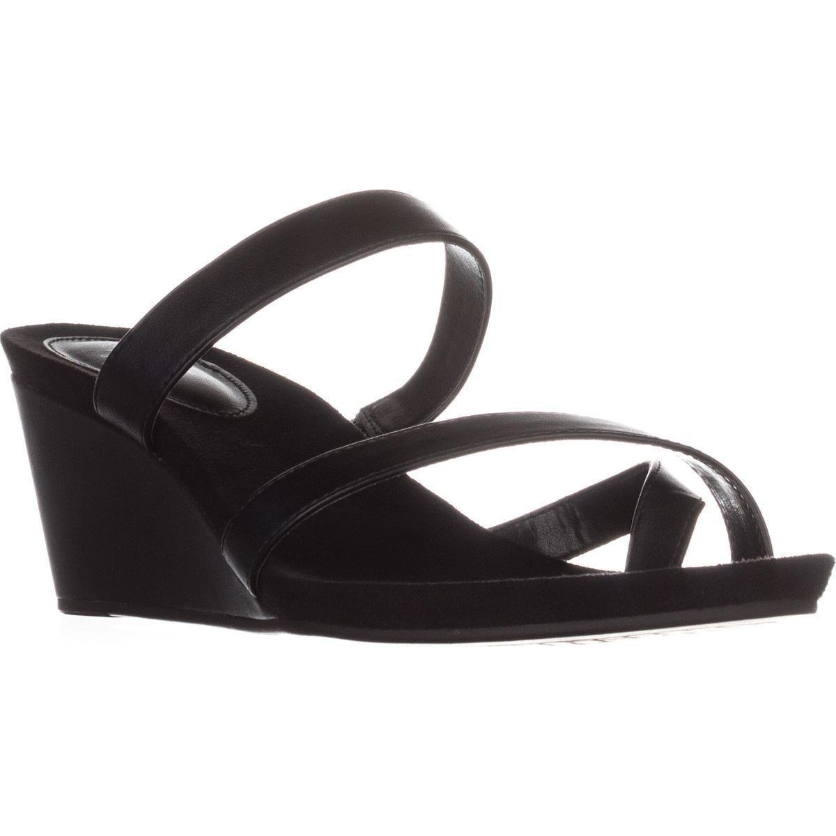 Black Style & Co. Womens Madelaa Toe Loop Faux Leather Wedge Sandals