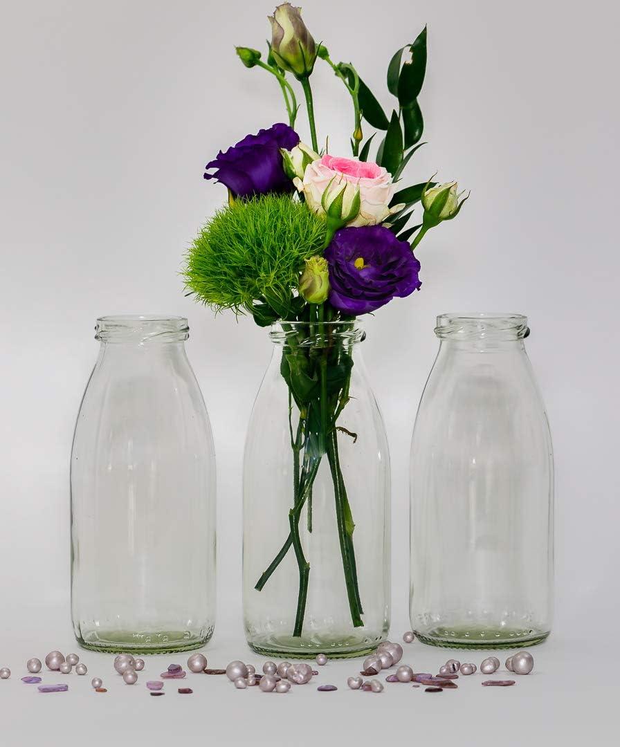 Casa-vetro - 12 botellas de cristal en estilo rústico para decorar mesas, jarrones de cristal, vidrio, Blanco, 12 Stück