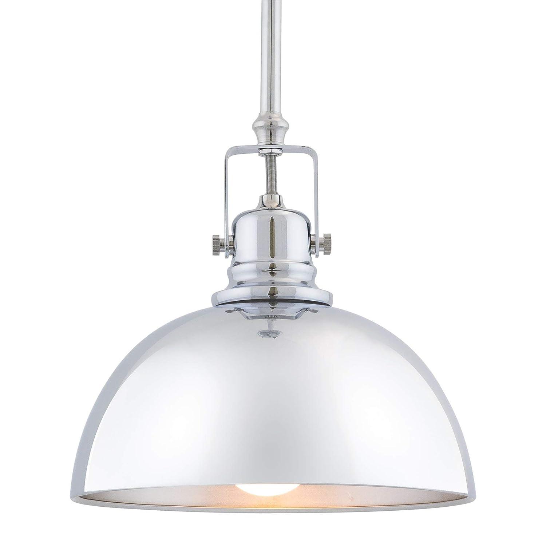 """Kira Home Belle 9"""" Contemporary Industrial 1-Light Pendant Light, Adjustable Length + Shade Swivel Joint, Chrome Finish"""