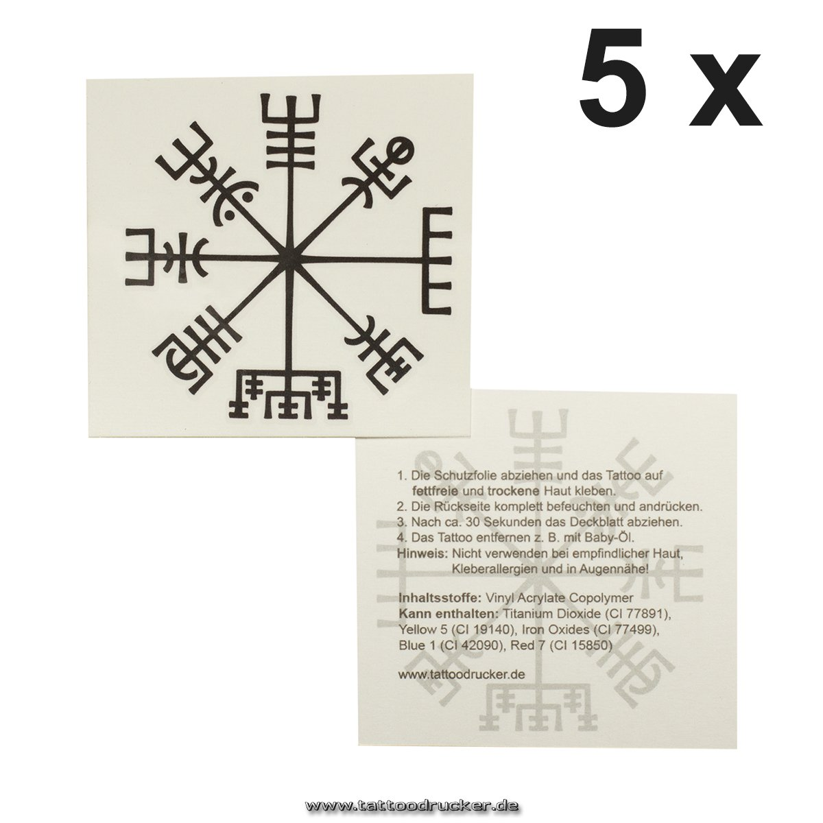5 x Viking compass tattoo - Vegví sir - Celtic compass - mystical protection symbol (5) TMP Vikinger-Kompass