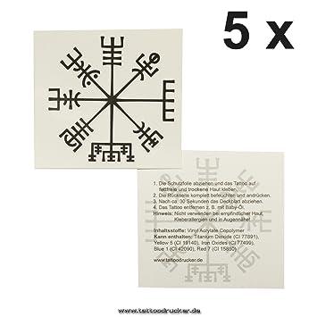 Amazoncom 5 X Viking Compass Tattoo Vegvísir Celtic
