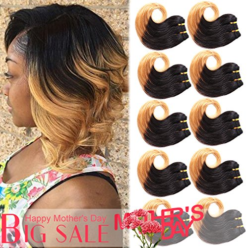 - B-Fashion Unprocessed Virgin Brazilian Ombre Human Hair Extensions Cheap Two Tone Body Wave Bundles 8 inch Short Curly Remy Hair Weaves Color 1B 27 30g/Piece 10Pcs/Package Total 300g