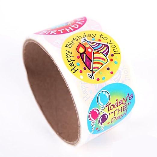 Toyvian 1Roll Colorido Feliz cumpleaños Pegatinas para Regalos de niños Favor de la Fiesta (100 Pegatinas)