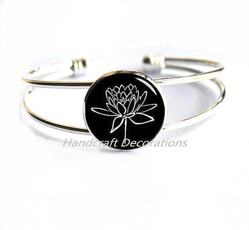 Amazon.com: Pulsera Lotus – flor de loto pulsera pulsera de ...