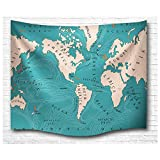 Map of the World Tapestry Retro Wall Hanging Home Decoration by Einfachheit (lake blue)