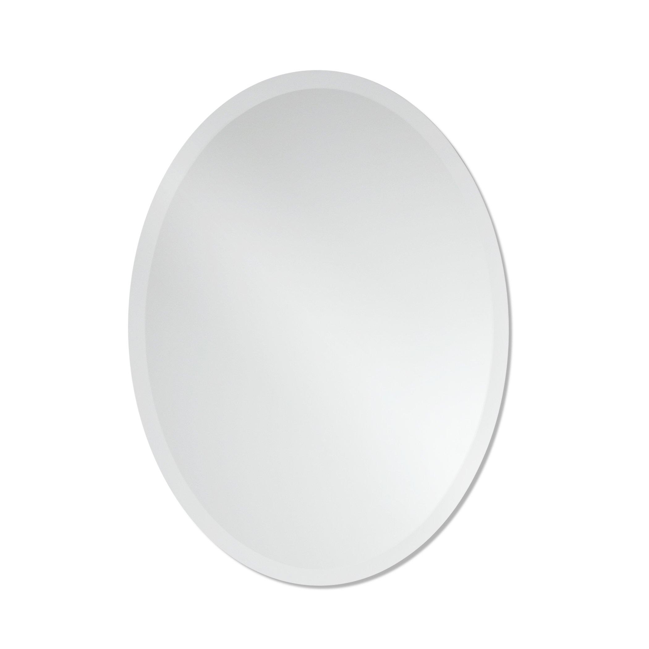 Small Frameless Beveled Oval Wall Mirror | Bathroom, Vanity, Bedroom Mirror | 20-inch x 27-inch