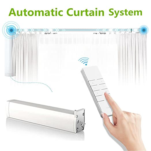 Automatic Curtain System, Electric Tracks, Motorized Rod, Remote  Controlled, Drapery System,