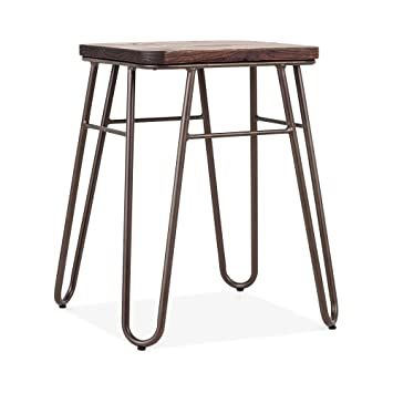 Bas En Cult Tabouret Orme HairpinBois Living Carré Massif y6gYf7bv