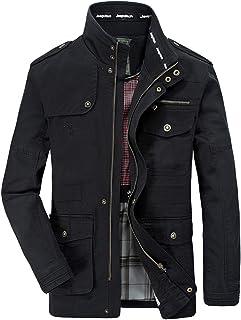 Cappotto per Giacca Manica Lunga A Maniche Lunghe Multi-Tasca da Uomo Autunno Inverno Moda Multi Tasche E Colore Puro Corta Slim Fit