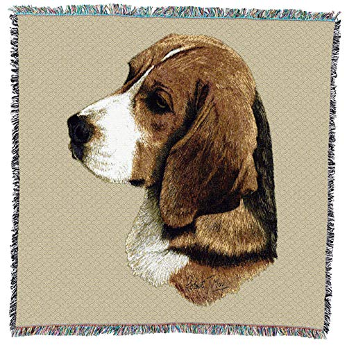 Pure Country Weavers - Beagle Woven Throw Blanket with Fringe Cotton. USA Size 54x54
