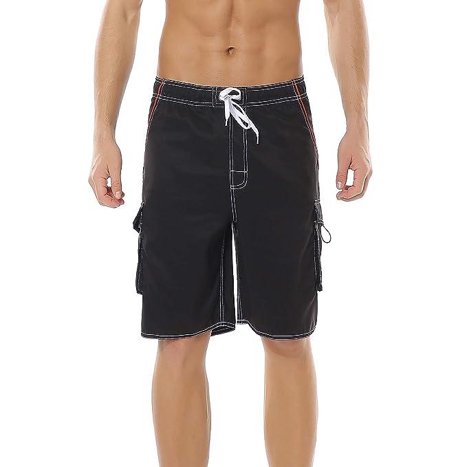 b87162b6bc Yaluntalun Men's Swim Trunks Quick Dry Beach Board Shorts Solid Color  Boardshorts with Mesh Lining Black