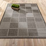 """low budget patio ideas Ottomanson Jardin Collection sisal Rug, 5'3""""X7'3"""", Grey Boxes"""
