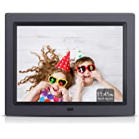 APEMAN 8 Inch Digital Photo Frame 4:3 High Resolution Display MP3 Video Player Calendar Alarm Clock with remote controller Support USB SD Card,Black, Gift choice