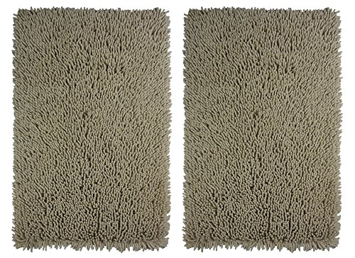 Cotton Craft - 2 Piece Micro Fiber Chenille Bath Mat Rug Set - 21x32 - Linen Super Absorbent Super Soft Plush Hand Tufted Heavy Weight Construction - Easy Care Machine wash