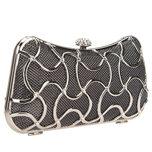 Bonjanvye Clutch Women Gris For Metal Bags Handle Evening With Black TTxB6qr