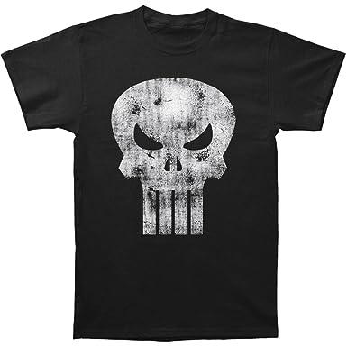 2f98ca92a Black Distressed Punisher Skull Logo T-Shirt - Medium: Amazon.co.uk:  Clothing