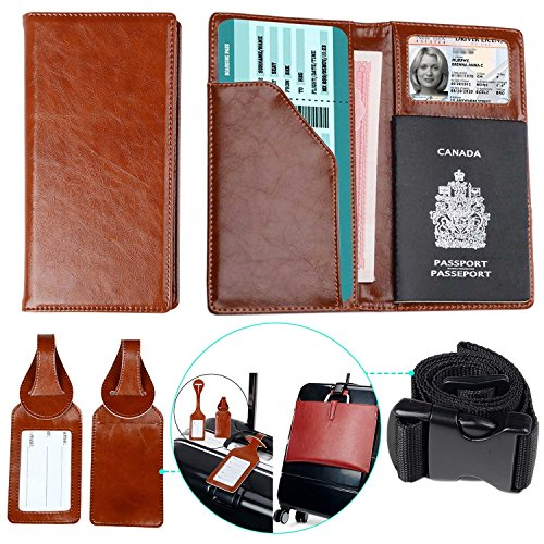 XeYOU Travel Wallet and Passport Holder Securely Holds Passport,ID Cards Cover with 2 Matching Luggage Tags and Luggage Strap (Brown) -