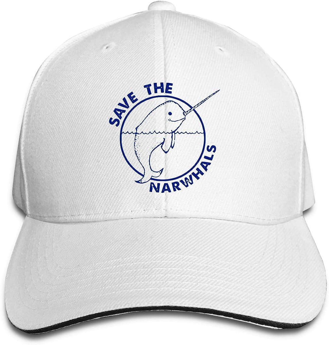 Save The Narwhals 1 Outdoor Snapback Sandwich Cap Adjustable Baseball Hat Plain Cap