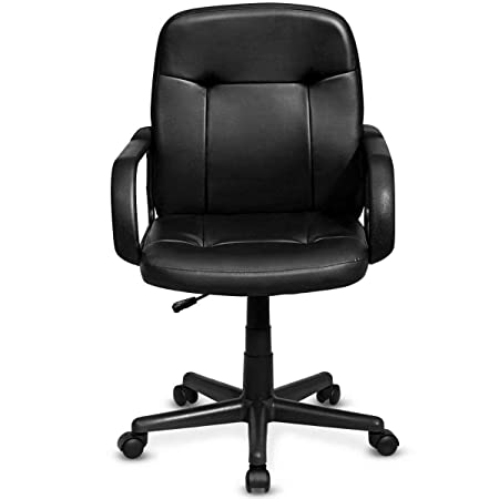 Giantex Mid Back Office Chair PU Leather Ergonomic Adjustable Computer Desk Task Chair with Swivel Wheels and Cushioned Seat Home Office Furniture, Black