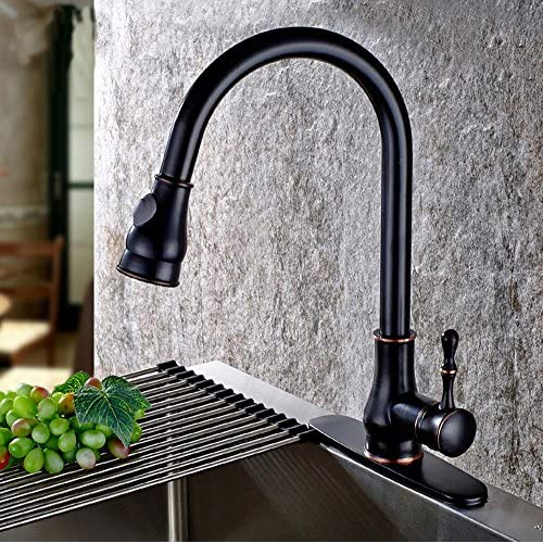 high-quality HYY@ Black bronze antique European pull - style drawing sink faucet kitchen all - copper hot and cold water taps