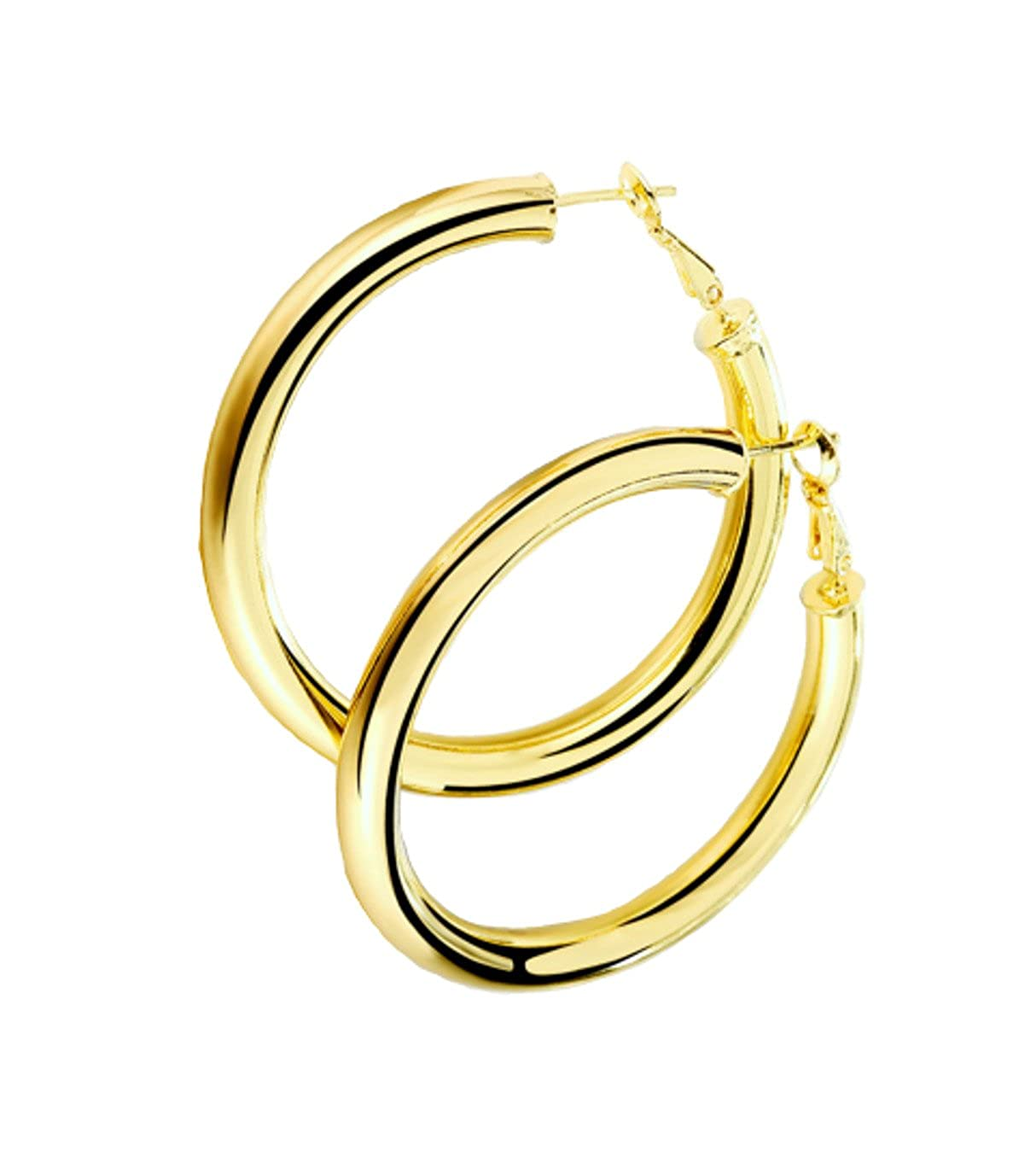 d39fc9112 Amazon.com: STAYJOY 18K Gold Polished Fashion High-Profile Hoop Earrings  with Omega Backs (Large): Jewelry