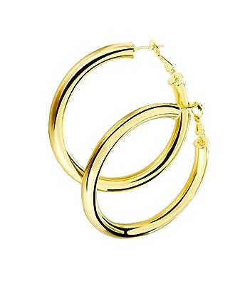 d9508629d Amazon.com: STAYJOY 18K Gold Polished Fashion High-Profile Hoop ...