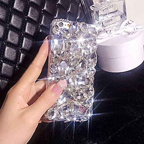 IKASEFU iPhone 7,iPhone 8 Case,Luxury Sleek Glitter Sparkly Bling Flash Back Shockproof Cute Shiny PC+TPU Thin Bumper Rhinestones Crystals Diamond Protective Cover for iphone 7/8,Silver