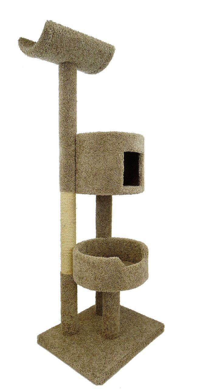 Wooden Cat Climbing Tower with Cradle, Condo & Sisal Post, Brown Carpet