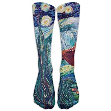 KOPPPU Van Gogh Starry Night Horse Athletic Tube Stockings Womens Mens Classics Knee High Socks Sport